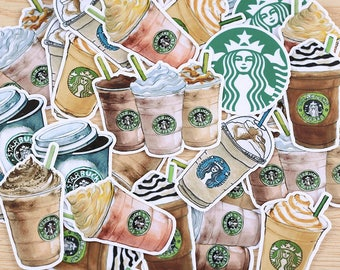 Scrapbooking Planner Luggage Stickers - Starbucks Inspired