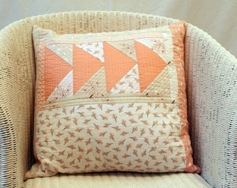 Just Peachy Handmade Patchwork Quilted Cushion Cover
