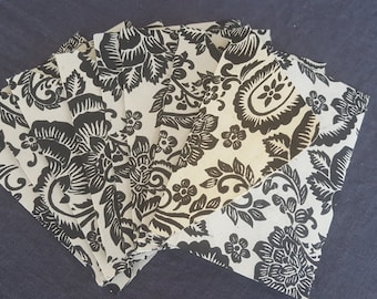 Premium Lokta Black and White Paisley Envelopes - Set of 8