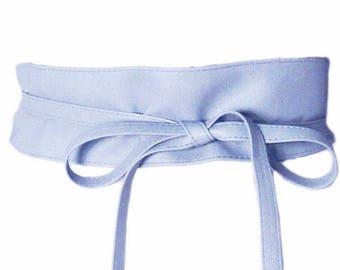 Modern Light Blue Retro Wide Wrap Belt