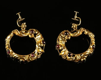 Antique Victorian Garnet Earrings 18ct Gold Large Earrings Screw Fitting