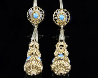 Antique Victorian Turquoise Gold Earrings Circa 1860 Night And Day