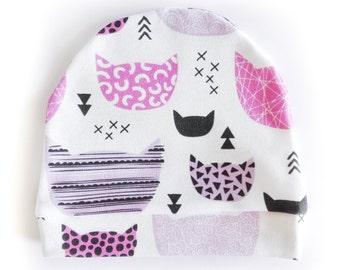"Organic cotton cap ""Purple kittens"""