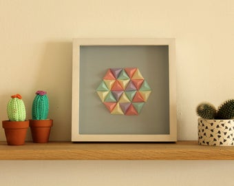 Frame Origami hexagon and triangle Pastel - blue, beige, purple, pink