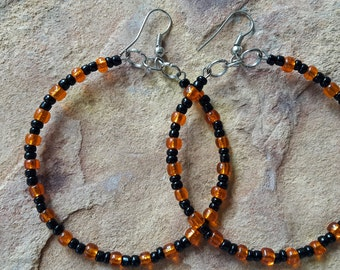 Beaded handmade simple minimalist modern fashion stylish elegant prom party spring dance  wedding bridesmaid black orange  big hoop earrings