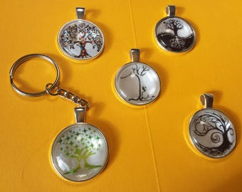 TREE OF LIFE glass pendant or key chain