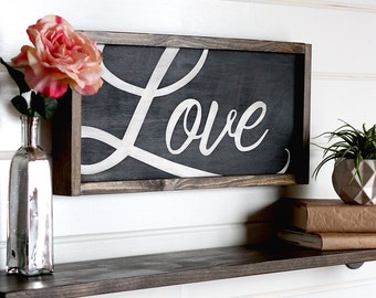 "Love Sign, Modern Farmhouse Wall Decor, Wooden Signs, Rustic Home Decor, Farmhouse Sign, Wood Love Sign, Rustic Wall Decor, 21.5"" x 9.5"""