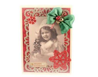 Holiday Card, Happy Holidays, Christmas Card, Xmas, Victorian Christmas, Vintage Style, Fancy Handmade Card, Luxury Christmas Card, Retro
