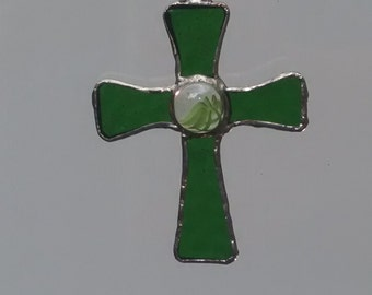 Stained Glass Cross  ( Green )