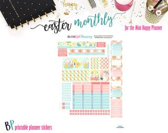 Easter April Monthly // Mini Happy Planner // Monthly View // Printable Planner Stickers // Cut Lines