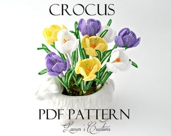 PDF PATTERN - French Beaded Crocus Flower by Lauren Harpster, DIY beading project, Spring Home Decor, wire wrapping tutorial