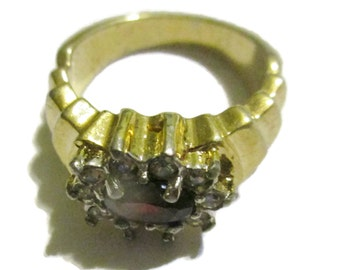 Rhinestone Ring, Deep Garnet and Clear, Gold Tone, 1950s-1960s , Fashion,  Size 7 ,  Vintage Jewelry