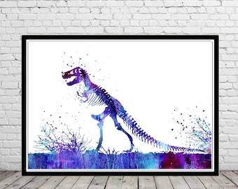 T Rex, Dinosaur, animal art, Dinosaur,Wall Art, print, watercolor print, art poster, poster print, T rex skeleton, dinosaur skeleton (2548b)