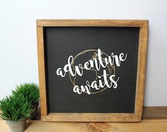 Adventure Awaits Wooden Sign. Handpainted Sign. Rustic Decor. Traveler Gift. Gift for Traveler.