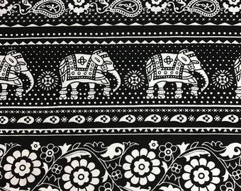 Elephants Cotton Lycra Print Fabric By the Yard.