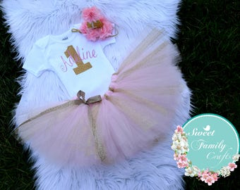 Baby Girl 1st Birthday Outfit   My 1st Birthday Girl Outfit   Cake Smash Outfit   Pink And Gold 1st Birthday Tutu Set   Baby Girl Shirt