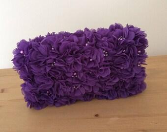 Purple flower clutch bag, evening bag, hand embellished, cadbury purple