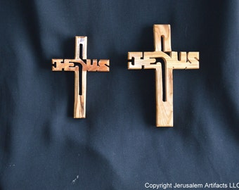 SALE! SALE! Handmade Olive Wood Cross with Jesus Engraving from the Holy Land-OW047