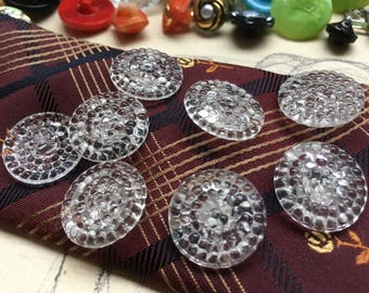 6 vintage glass buttons - honeycomb design