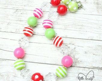 Pink, red lime green & clear chunky bubblegum necklace