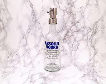 Absolute Vodka Bottle Soap Pump Dispenser (Water Repellent Label) Upcycled Bottle