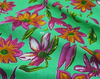"""Decorative Cotton Fabric For Sewing Designer Green Indian Cotton Floral Print Dressmaking Fabric 40""""Wide Drape Fabric By 1 Yard ZBC6305"""