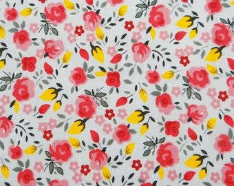 "Dress Material, Designer Fabric, Floral Print, White Fabric, Upholstery Fabric, 43"" Inch Cotton Fabric By The Yard ZBC7542B"