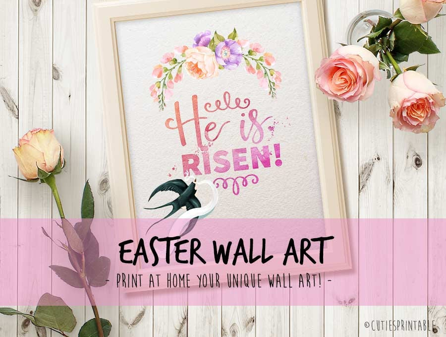 he is risen printable easter printable rejoice bible quote this is the - Easter Home Decorations