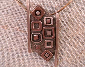 Rectangles and Squares pendant, mixed metal jewelry, steel cable chain, copper pendant, bronze pendant, gift for her, contemporary jewelry