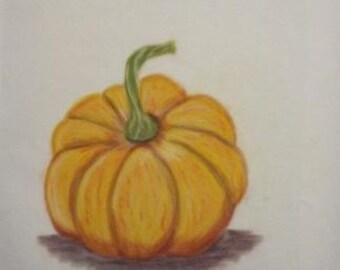 "Original painting with pastel crayons ""Pumpkin"""