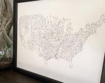 Rivers Of America Map Poster Print Screenprint River Map Of - River map us