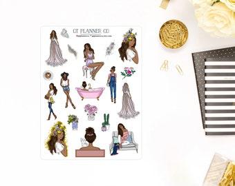 Beautiful Reflections Deco Planner Stickers - African American, Dark Skin Tone Women