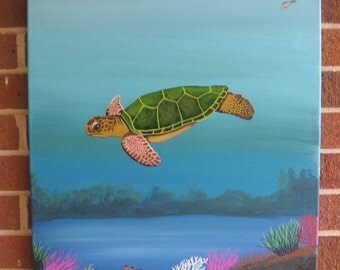 Sea Turtle Painting Custom Turtle Decor Turtle Art Sea Turtle Painting Loggerhead