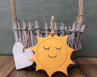 Sunshine, sun decor, gold sun, sun decoration, golden sun, sleepy sun, smiling sun, clay sun
