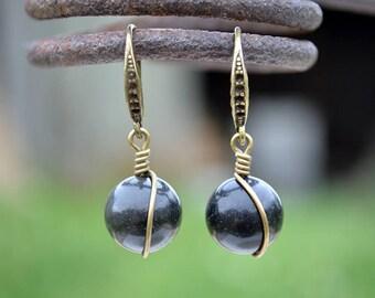 Obsidian bronze tone earrings, Black obsidian earrings, Obsidian earrings, Obsidian bronze earrings, Obsidian drop earrings, Obsidian drop.