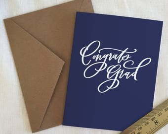 Handlettered  'Congrats Grad' Greeting Card