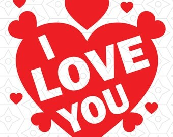 I Love You Decal Design, SVG, DXF, EPS Vector files for use with Cricut or Silhouette Vinyl Cutting Machines