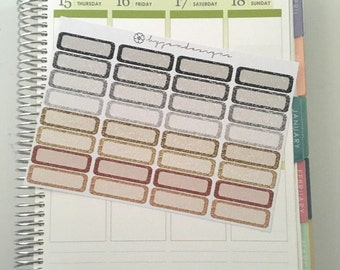 32 Glitter Quarter Box Stickers, Planner Stickers, for use with ERIN CONDREN LIFEPLANNER™