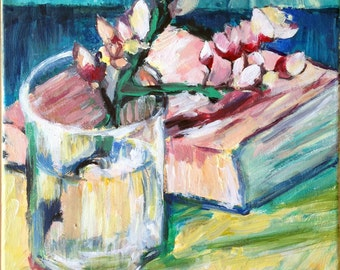 Blossoming Almond Branch in a Glass with a Book by Vincent Van Gogh inspired art, Original , Acrylic Painting,Painting on Canvas, Modern Art