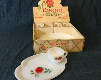 Vintage Federal Rosecrest Milk Glass Snack Set, 3 Place Setting Plus 1 Extra Cup