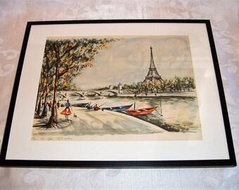 Vintage Ducollet Print Paris Eiffel Tower Scene Framed 14 X 11