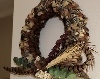 Ringneck Pheasant Feather Wreath 10""