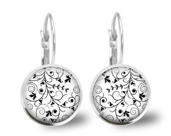 Black and White Floral Silver Earrings Glass Tile Lever Back Earrings Gift for Mom