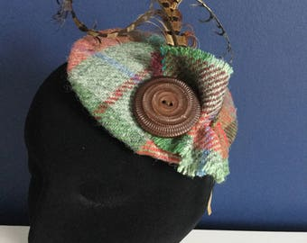 Fascinator - Harris Tweed and feather