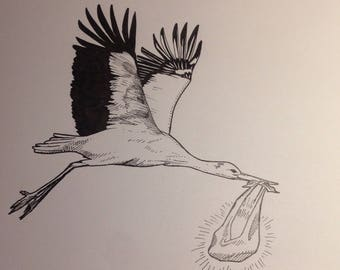 Stork with soul flying to parents original A5 drawing