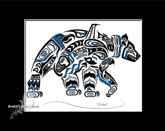 "Haida Bear, Tlingit Grizzly Art Print,Pacific Northwest Coast, Native American, First Nations Art - ""Kodiak"" 8x10 in BLUE"