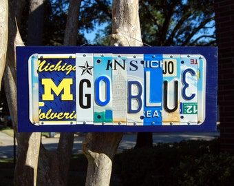 GO BLUE logo - University of Michigan - UM Wolverines license plate sign