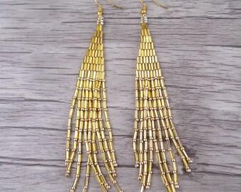 Gold Seed Bead Tassel Earrings Gold Earrings Long Earrings Seed Bead Earrings Bohemian Earrings Long Drop Earrings  Tassel Earrings ED-025