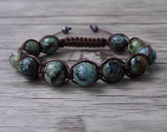 Turquoise Bracelet Beads Wrap Bracelet African Turquoise Bracelet Boho beaded Bracelet Shamballa beads bracelet Jewelry SH-055