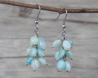 amazonite stone beads Earrings Blue Beads Dangle Earrings Gemstone Earrings Natural Stone Bead Earrings BOHO Bead Drop Earrings ED-035
